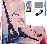coco Fun® pink sky eiffel Muster PU-Leder Etui Kabel flim Griffel und stehen für Samsung Galaxy S4 / S4 mini / s5 / s5 mini