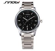 SINOBI® Mens Business Watches Black Surface Calendar Silver Steel Band Waterproof Male Dress Quartzes Reloj Wrist Watch Cool Watch Unique Watch