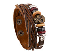 Skeleton Beads Cutting Leather Bracelets