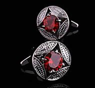 Fashion Copper Men Gift Jewelry Silver Round Red Cz Crystal Rhinestone Shirt Button Cufflinks(1Pair)