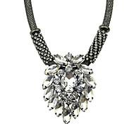 Black Chain Big Rhinestone Stone Necklace
