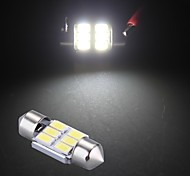 White 6 SMD LED 5630 SMD Festoon Interior Dome Bulb Light 31mm  (2 Pcs)