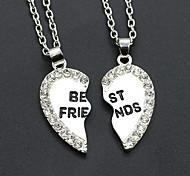 Women's Fashion Two Part Pendants Zircon Carved The Letters Broken Heart Shape Necklace 1pc