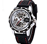 Men's Watch Black Rubber Band Automatic Mechanical Skeleton Watch