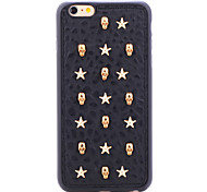 Rivet Leather Series Golden Star-Skulls TPU Soft Back Cover for iPhone 6/6S