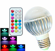8W E26/E27 Bombillas LED de Globo A60(A19) 3 LED de Alta Potencia 400 lm RGB Regulable / Control Remoto / Decorativa AC 100-240 V 1 pieza