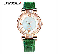 SINOBI® Women's Fashion Watch with Diamond Ladies' Quartz Watch Green Leather Rose Gold Case Brand Quartz Wristwatches Cool Watches Unique Watches