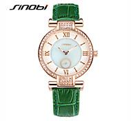 SINOBI® Women's Fashion Watch with Diamond Ladies' Quartz Watch Green Leather Rose Gold Case Brand Quartz Wristwatches Cool Watches Unique Watches