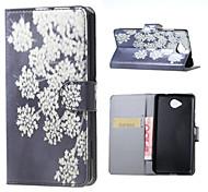 fleurs blanches modèle porte-monnaie en cuir flip support cas avec fente pour carte lumia microsoft 650