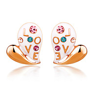 Korean Lettering LOVE Letters Romantic Heart-Shaped Earrings