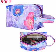 Makeup Storage Cosmetic Bag / Makeup Storage Nylon / PU Flower/Floral Quadrate 19x11.5x10cm Blue / Red / Purple