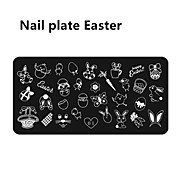 1PCS   Born Pretty Nail Art Stamping Template Image Plate Easter Bunny