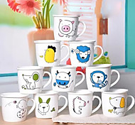 Cute Cartoon Children Creative Breakfast Milk Scale Mark Ceramic Mug Cup