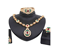 2016 gold-plated high-end luxury diamond necklace (necklace, earrings, rings, bracelets)