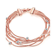 Fashion Women's Rhinestones  Imitated Rose Gold Plated Tin Alloy Chain & Link Bracelet(Rose Gold)(1Pc)