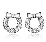 Lureme®  Korean Fashion 925  Sterling Silver Crystal  Bowknot Hypoallergenic Earrings