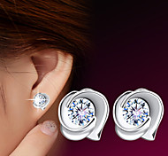 2016 Korean Unisex 925 Silver Sterling Silver Jewelry Zircon Earrings Sample Rose Stud Earrings 1Pair