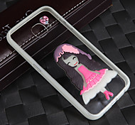 Lightning Glow in Dark With the Rope Long Hair Pink Skirt Girl Acrylic Back+TPU Frame Back Cover for Samsung Galaxy S6