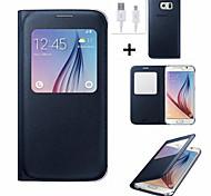 Sichtfenster Flip Ledertasche mit automatischer Smart Schlaf für Samsung Galaxy S6 / S6 Rand plus / s7 / s7 Rand + USB-Kabel