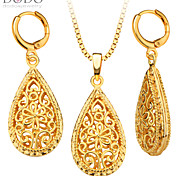 New Trendy Flower&Heart Shape Necklace Earring Jewelry Set 18K Gold Plated Gift Trendy Necklace Set For Women S20133