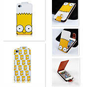 Yellow Cartoon Pattern Up-down Turn Over PU Leather Full Body Case for iPhone 4/4S