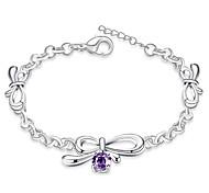 Korean-style Romantic Purple Crystal Bows Chain Bracelet Women's Silver Plated Wristband Bracelet(Color:Silver)