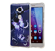 Purple Butterfly Pattern Grainy Inner Shockproof Air TPU Case Cover for Huawei Honor Play 5X / Honor 5X