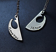 I Love You, I Know The Letter Two Lovers'Suits Pendant Necklace