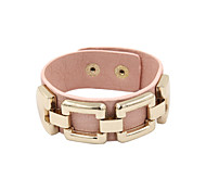 Fashion Women Trendy Geometric Metal Chain Decorated Leather Bracelet