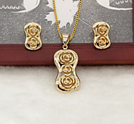 Women's Golden Plated Flowers Necklace and Earrings Set