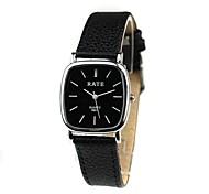 Mulheres Relógio de Moda Quartz Relógio Casual PU Banda Relógio de Pulso Preta