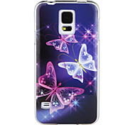Purple Butterfly IMD+TPU Back Case for Samsung Galaxy S5