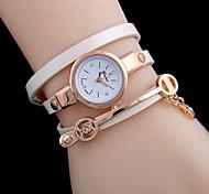 Damen Modeuhr Armband-Uhr Quartz Leder Band Schwarz Weiß Rot Orange Weiß Schwarz Orange Rot