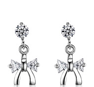Lureme®  Korean Fashion Crystal 925  Sterling Silver Bowknot Hypoallergenic Earrings