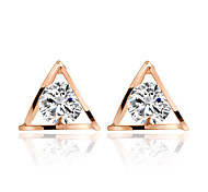 Allergy Free Gold Plated Women Stud Earrings European Style Luxury Zircon Insert Hollow Striangle Earrings