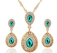 europeu de venda de cristal conjunto de jóias liga de queda quente