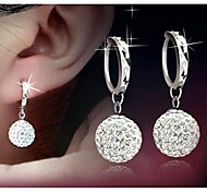 S925 Sterling Silver Diamond Princess full ball pendant earrings