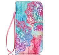 Color Diagonal Flower Pattern PU Material Card Lanyard Case for Samsung Galaxy S7/S7Edge