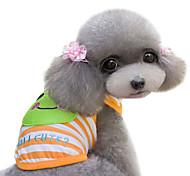 Dog Shirt / T-Shirt Green / Orange Spring/Fall Stripe / Cartoon Fashion