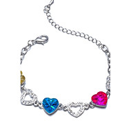 Hot New Charming Lovely Simple Bling Elegant Multicolor Heart Bracelet Bangle Party Jewelry For Women