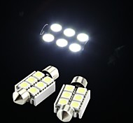 White 6 SMD LED Festoon Interior Dome Bulb Light 36mm (2 Pcs)
