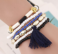 Women's Fashion Wild Metal Flower Beads Multilayer Tassel Bracelet