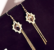 Han Edition Gold Sun Set Auger Lock Chain Tassel Alloy Earrings Fashion Women