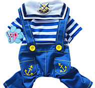 Dog Clothes/Jumpsuit Dog Clothes Fashion Stripe Jeans Ruby Blue