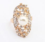 Women's New European Style Fashion Rhinestone Pearl Flower Statement Ring