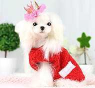 Dog Coat Red / Blue Dog Clothes Winter Solid Fashion / Christmas