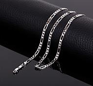 Men's Classic  Figaro Titanium Steel Platinum Chain Necklace ,Fine Jewelry
