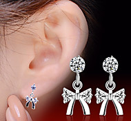 2016 Korean Unisex 925 Silver Sterling Silver Jewelry Zircon Earrings Bow Stud Earrings 1Pair