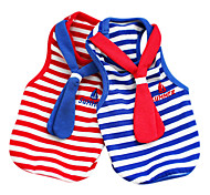 Dog Clothes/Jumpsuit Red / Blue Dog Clothes Spring/Fall Stripe / Neck Tie Fashion