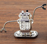 Cartoon Robot Shape Tea Strainer Tea Infuser with Mini Plate Stainless Steel